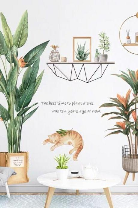 flower potted plant and cat wall sticker green leaves planting wall decal, shelves living room decor,peel and stick nature mural