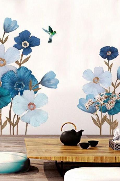 elegant blue flower wall sticker chinese style floral with Magpie bird vinyl decal, natural botany living room decor,girls peel and stick