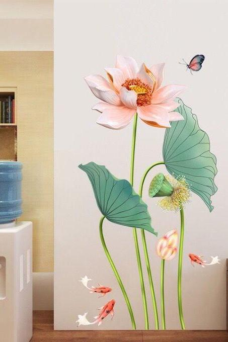 elegant chinese style lotus flower wall sticker pink floral & green leaves wall decal, natural botany carp butterfly living room decor