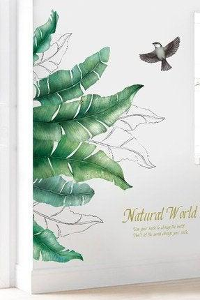 large tropical banana leaf with bird wall sticker green plant natural wall decal,natural botany living room wall decor ,greenery peel stick