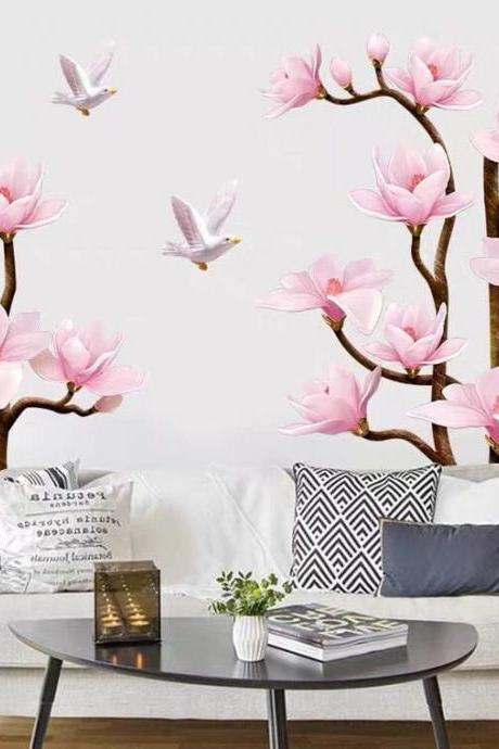 romantic pink Magnolia flower tree wall stickers, flowers and Seagull vinyl Wall decal, peel and stick murals, living room home decor