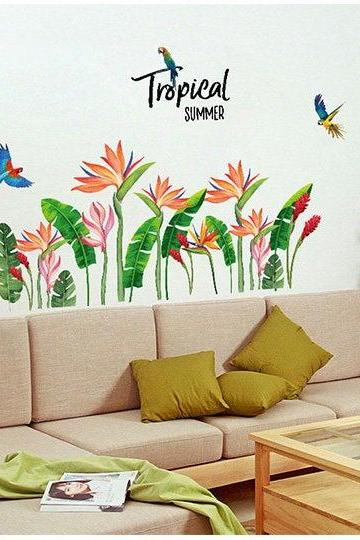 tropical banana leaf parrot wall sticker green planting red flowers wall decal, natural botany living room wall decor ,greenery peel stick