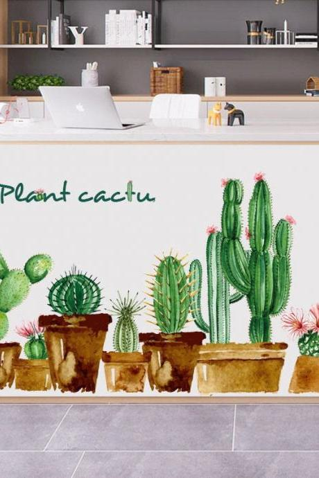 fresh green cactus pots wall stickers ,potted plants Wall decals, kids room decors, garden flowers mural,peel and stick