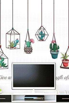 falling green plants pots wall decal, unique natural hanging potted plants Wall Stickers, cactus bontany living room wall decors murals