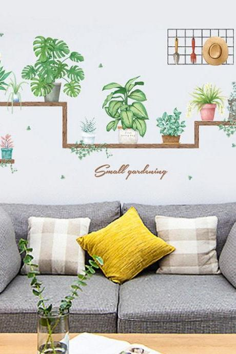 fresh green plant pots wall decal, natural pots botany Wall Stickers, living room wall decor ,creative greenery leaf murals