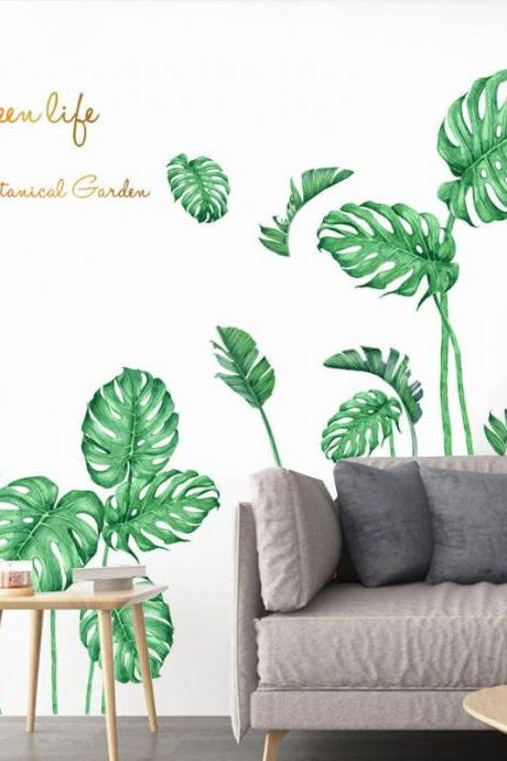 green monstera leaves with wording wall decal, natural leaf plants Wall Stickers, living room wall decor ,kitchen murals ,peel and stick