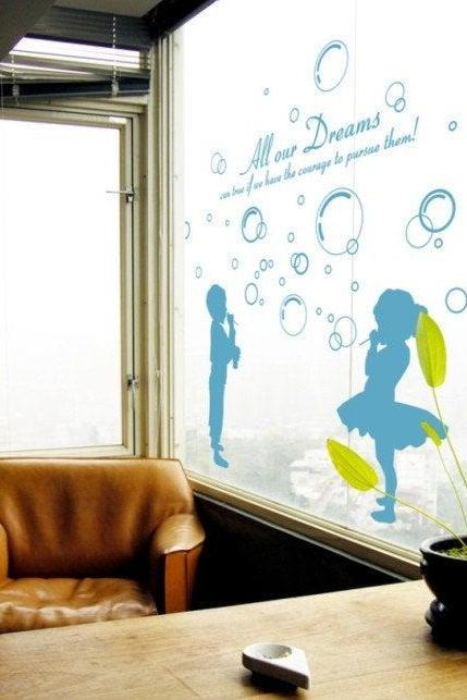 boy and girl Blowing bubble wall decal vinyl home Art Decals Wall Sticker stickers kids room bed baby kid H088