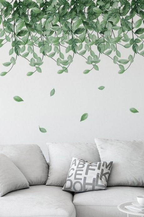 tropical green hanging leaf vine branch wall sticker, dropping falling leaves living room wall decor,peel and stick greenery wall decal