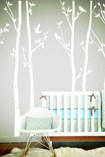 Vinyl Wall Decals white tree decal nursery six birth trees birds leaf bird trees home house Wall