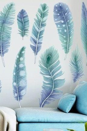 falling piece of blue feather wall stickers, peacock feather Wall decal, wall mural, living room home decor,watercolor wallpaper