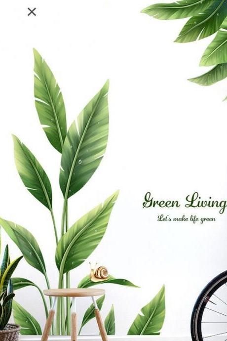 green living Tender leaf tree wall sticker fresh ,planting wall decal, natural botany Wall mural, room wall decor ,greenery peel stick