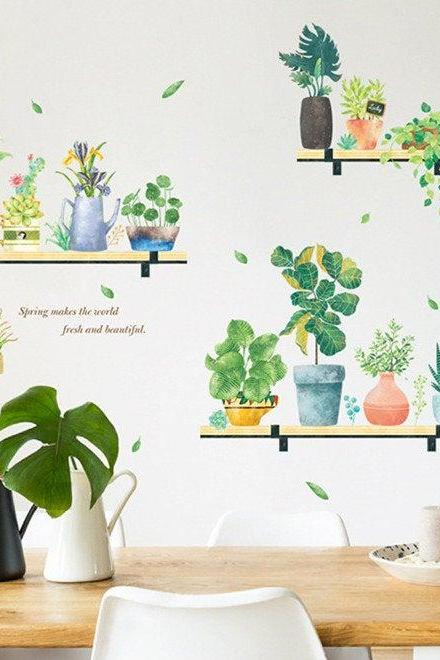 spring fresh green pot planting wall decal, natural shelving botany Wall Stickers, living room wall decor ,creative greenery leaf murals