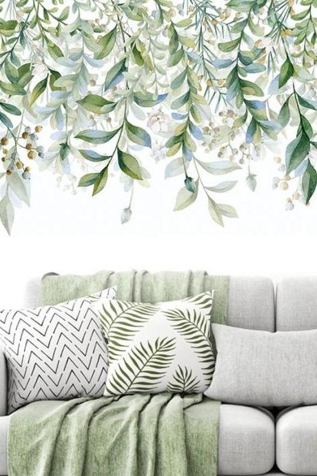hanging green leaves brand with fruits wall decal, natural plants Wall Stickers, living room wall decor ,creative dropping leaf murals