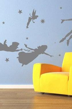 Peter pan wall decal Vinyl nursery kids Children decals flying tinkerbell wendy stars home house baby room decor Wall Sticker kid mural
