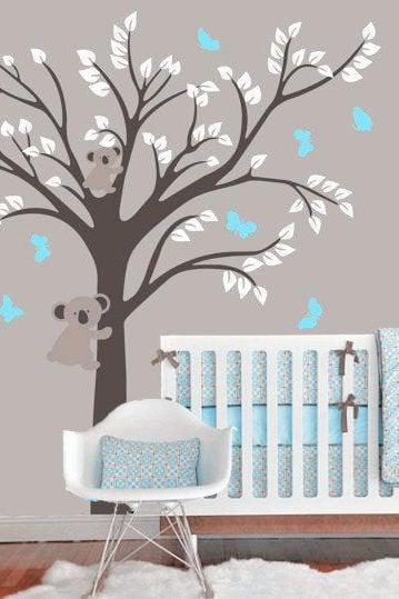 tree with bear decal,bears Vinyl Wall Decal, butterfly, Cubs,baby boys wall Decals, nursery tree animal Wall