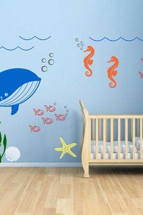 baby nursery decal -Underwater Seaweed Fish Sea Star Seashell Whale Seahorse animal stickers - home decor - kids Wall art mural Hk14