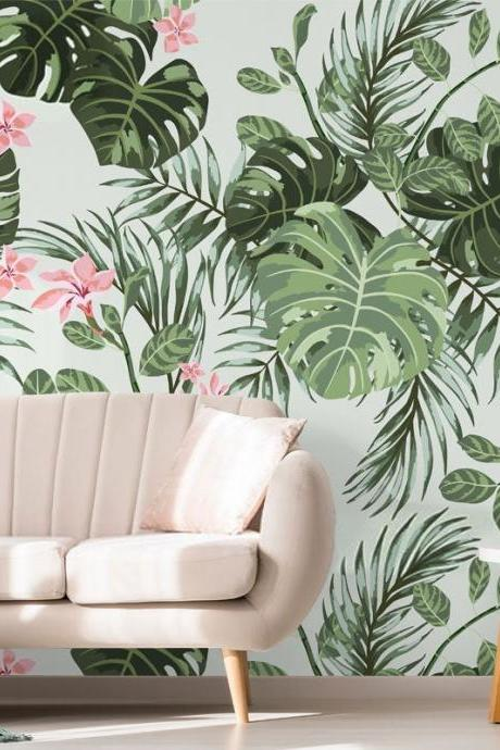 country style green leaf with pink flower wallpaper living room sofa background wall murals Classical Peel and Stick house home decor
