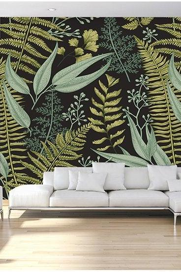 country style unique black background yellow green leaf wallpaper living room couch wall murals Classical Peel and Stick house home decor