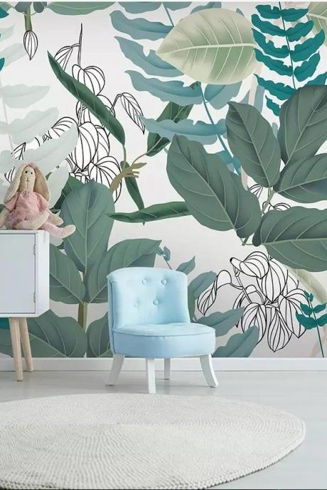 fresh green and white Jungle leaves wallpaper greenery leaf living room stickers couch background wall murals Classical Peel Stick house