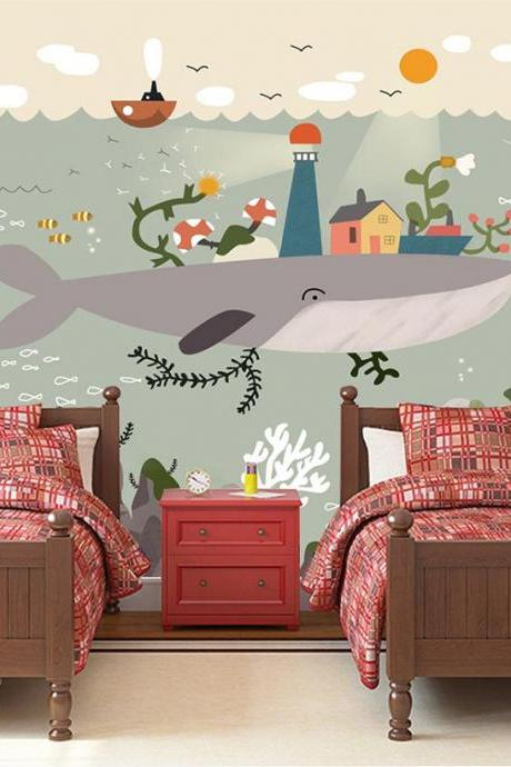 cute fun undersea large whale wallpaper adorable fish seaweed twins bedroom wall stickers background wall murals interesting Peel Stick home