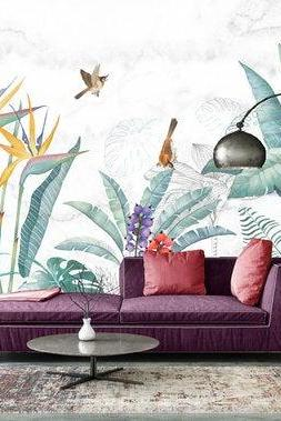 large tropical green banana leaf and birds wallpaper living room sofa wall murals Temporary Peel and Stick house Stickers home decor couch