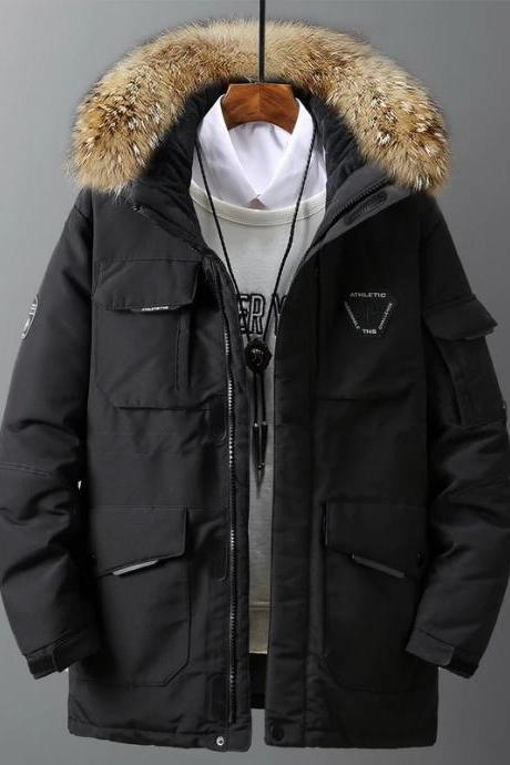 Down Jacket Mens Fashion Workwear New Style Young Puffer Jacket Short Thicken Outdoor Warm Winter White Duck Down Coats A018