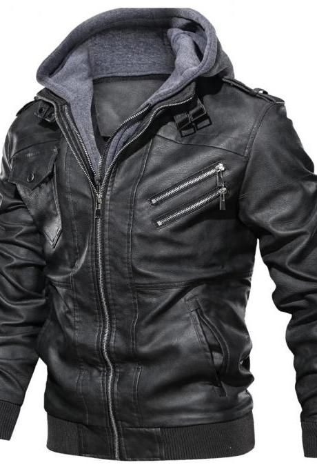 Leather Jackets Men Autumn Winter Casual Hooded Coats Mens Motorcycle Biker Leather Jacket 4XL A022