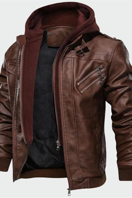 Autumn New Casual Motorcycle PU Jacket Leather Coats Men Faux Jacket Mens Brand Clothing A025