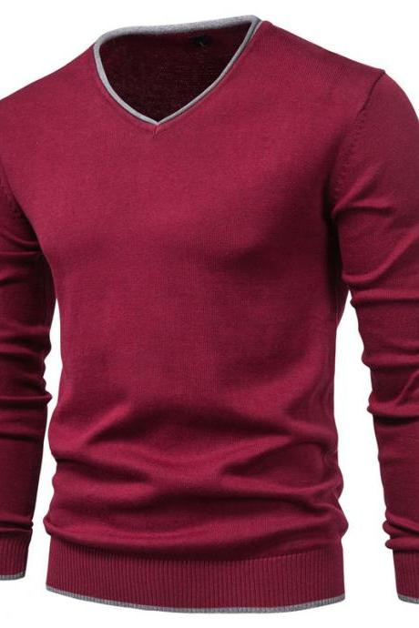 New 100% Cotton Pullover V-neck Men's Sweater Solid Color Long Sleeve Autumn Slim Sweaters Men Casual Pull Men Clothing A029