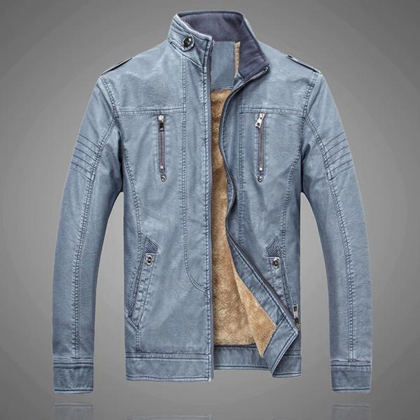 Retro Motorcycle Leather Jacket Men Fleece Autumn Winter Fashion PU Leather Thick Coat Male A027