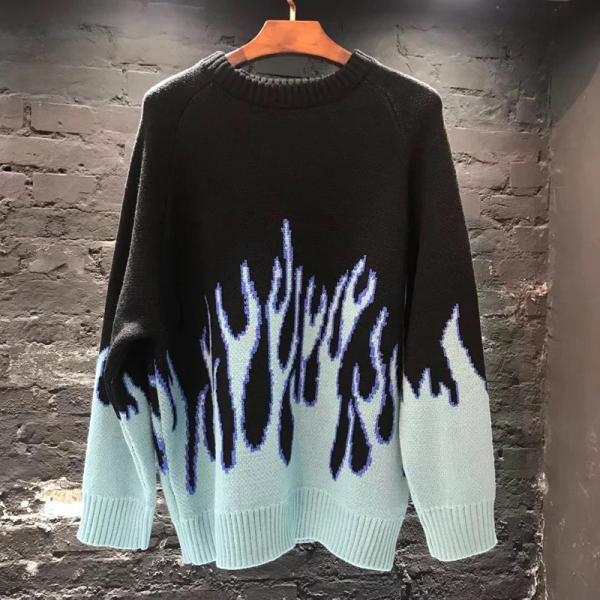 Streetwear Retro Flame Pattern Hip Hop Autumn New Pull Over Spandex O-neck Oversize Couple A028