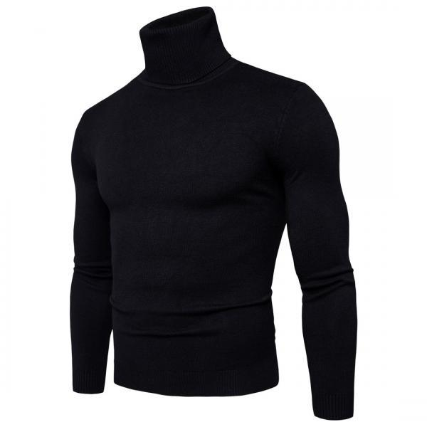 Winter Warm Turtleneck Sweater Men Fashion Solid Knitted Mens Double Collar Slim Fit Pullover A030